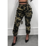 LovelyCasual High Waist Camouflage Printed Army Gr