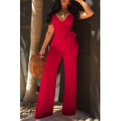 Lovely Elegant V Neck SleeveLess Red Polyester One-piece Jumpsuits(With Belt)