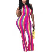 Lovely Sexy Halter Neck Backless Striped Rose Red Qmilch One-piece Jumpsuits