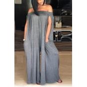 LovelyCasual Dew Shoulder Grey Cotton Blends One-piece Jumpsuit