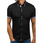 Lovely Fashion Turndown Collar Short Sleeves Black