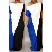 LovelyCasual Short Sleeves Patchwork Navy Blue Cotton Blend Floor Length Dress