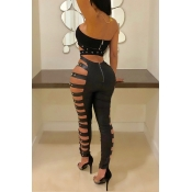 Lovely Sexy High Waist Hollow-out Black Leather Pa