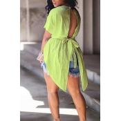 Lindo Na Moda Em Torno Do Pescoço Design Irregular Drawstring Luz Camisas De Algodão Verde