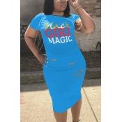 Lovely Leisure Broken Holes Blue Polyester Knee Length Dress