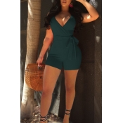 Lovely Sexy V Neck Army Green Polyester One-piece Short Jumpsuits