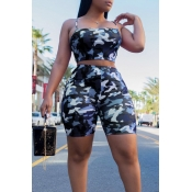 LovelyCasual Dew Shoulder Camouflage Printed Blue Polyester Two-piece Shorts Set