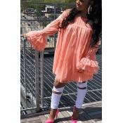 LovelyTrendy Dew Shoulder Falbala Design Pink Lace Mini Dress