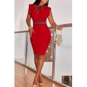 LovelyFashion Round Neck Ruffle Design Red Blending Sheath Knee Length Dress