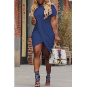 Lovely Casual Round Neck Irregular Blue Polyester Mini Dress