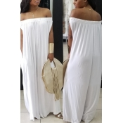 LovelyCasual Dew Shoulder White Cotton Blends One-piece Jumpsuit