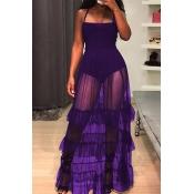 Lovely Trendy Spaghetti Strap Sleeveless See-Through Flounce Purple Cotton Blend Floor Length Dress