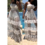 LovelyTrendy Spaghetti Strap Sleeveless See-Through Flounce White Cotton Blend Floor Length Dress