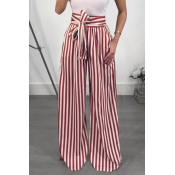 Lovely Trendy High Waist Striped Red Polyester Pan