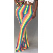 LovelyTrendy Hight Waist Colorful Striped Polyeste