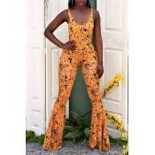 Lovely Street U Neck Printing Croci Spandex One-piece Jumpsuits