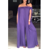 Lovely Casual Dew Shoulder Purple Cotton Blends One-piece Jumpsuit