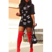 Lovely Casual Round Neck Letter Printed Black Cott