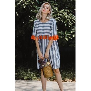 Lovely Casual Round Neck Striped Tassels Dark Grey Blending Mini Dress