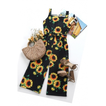 Lovely Sexy Sunflower Printed Black Cotton Blends One-piece Jumpsuits