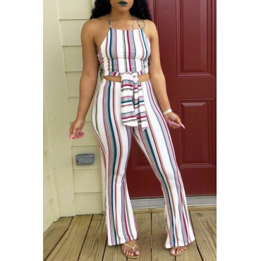 LovelyCasual Dew Shoulder Striped White Blending Two-piece Pants Set