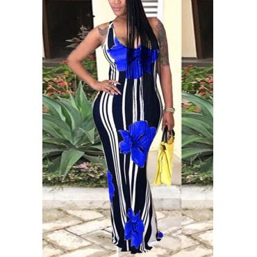 LovelyCasual U Neck Striped+Floral Printed Blue Blending Floor Length Dress