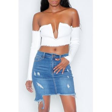 LovelyDenim Solid Sheath Mini Skirts