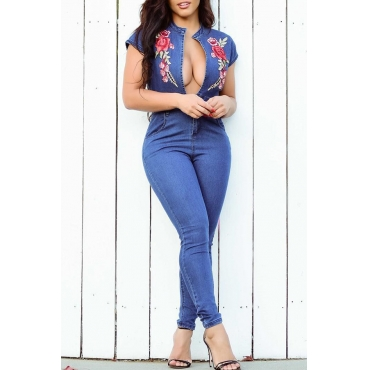 Lovely Stylish Round Neck Embroidered Floral Blue Denim One-piece Jumpsuits