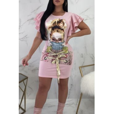 Lovely Fashion Round Neck Lotus Leaf Sleeves Characters Printed Pink Twilled Satin Mini Dress