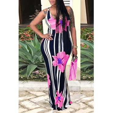 LovelyCasual U Neck Striped+Floral Printed Pink Blending Floor Length Dress