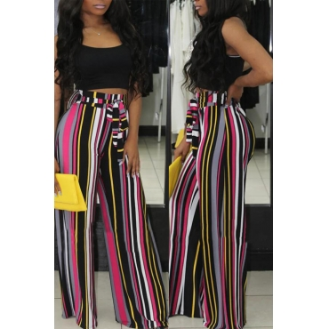 Lovely Euramerican High Waist Striped Printed Polyester Pants