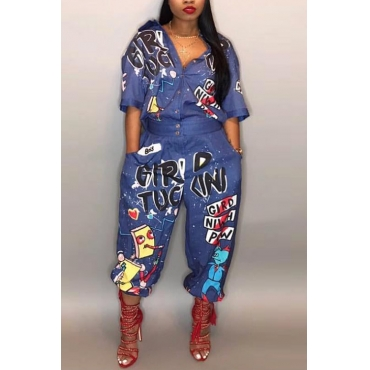 LovelyEuramerican Cartoon Printing Blue  One-piece Jumpsuits