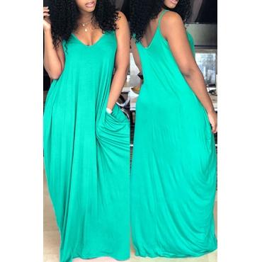 Lovely Casual V Neck Pocket Design Green Blending Floor Length Dress