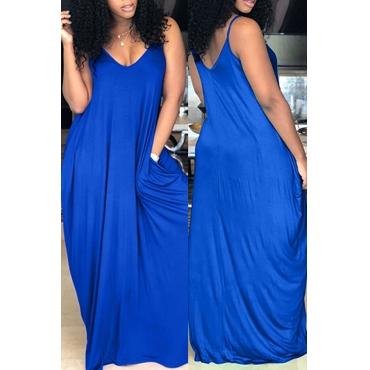 Lovely Casual V Neck Pocket Design Blue Blending Floor Length Dress