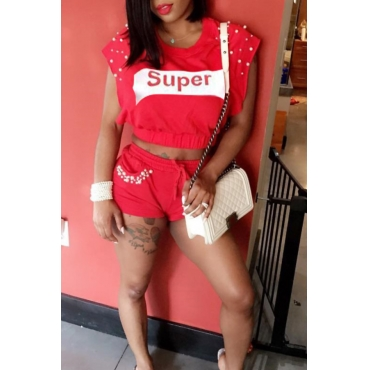 Lovely Leisure Round Neck Letters Printed Nailed Pearl Red Blending Two-piece Shorts Set