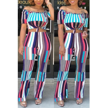 Lovely Chic Bateau Neck Striped Blue Knitting Two-piece Pants Set