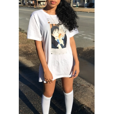 Lovely Casual Round Neck Cartoon Characters Printed White Cotton Blend Mini Dress