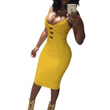 Lovely Sexy V Neck Spaghetti Strap Sleeveless Yellow Cotton Sheath Knee Length Women Dress