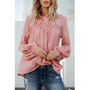 Lovely Casual Round Neck Blending Pink Blending Shirts