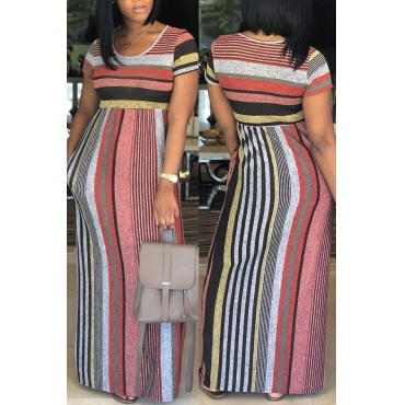 Lovely Casual Round Neck Colorful Striped Milk Fiber Ankle Length Dress