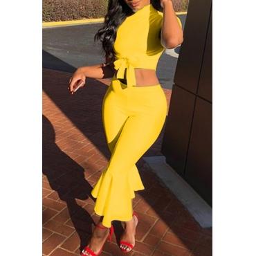 LovelyEuramerican Round Neck Yellow Twilled Satin Two-piece Pants Set