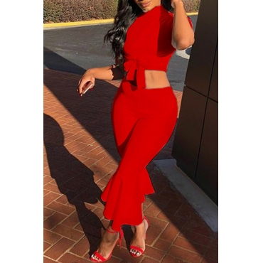 LovelyEuramerican Round Neck Red Twilled Satin Two-piece Pants Set