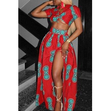 Lovely Bohemian V Neck Printing Red Chiffon Two-piece Skirt Set