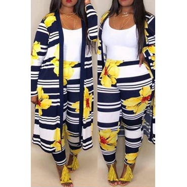 Lovely Trendy Striped Faint Yellow  Polyester Two-piece Pants Set