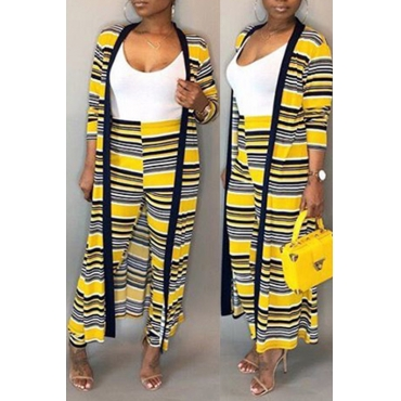 Lovely Trendy Striped Printed Yellow Polyester Two-piece Pants Set