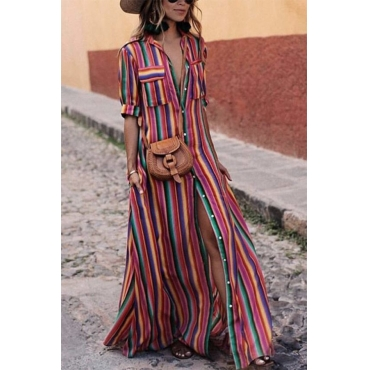 LovelyFashion Turndown Collar Colorful Striped Polyester Floor Length Dress