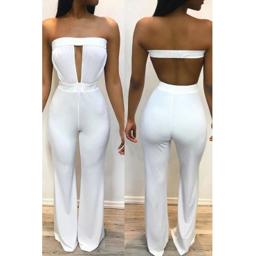 Lovely Sexy Bateau Neck Hollow-out White Spandex One-piece Jumpsuits