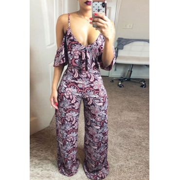 Lovely Casual V Neck Flounce Printing Purple Spandex One-piece Jumpsuits