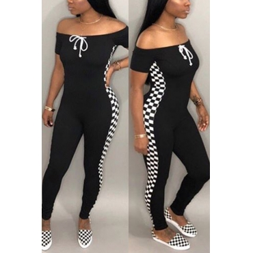 Lovely Leisure Dew Shoulder Black Polyester One-piece Jumpsuits
