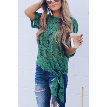 Lovely Chic Round Neck Short Sleeves Bandage Printing Green Rayon Shirts